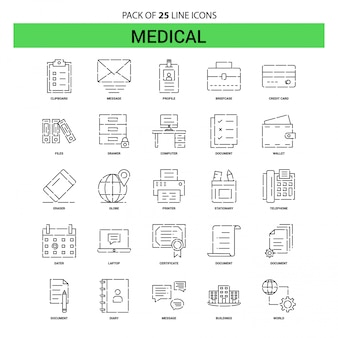 Medical line icon set - 25 dashed outline style