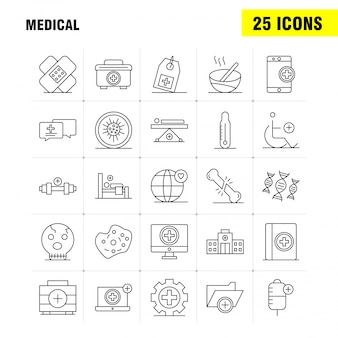 Medical line icons set for infographics, mobile ux/ui kit