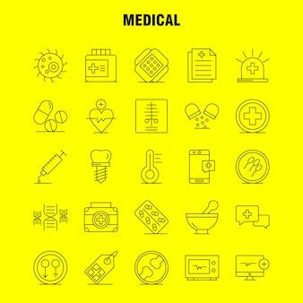 의료 선 아이콘 세트