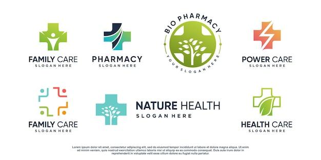 Коллекция медицинских логотипов с креативным элементом premium векторы