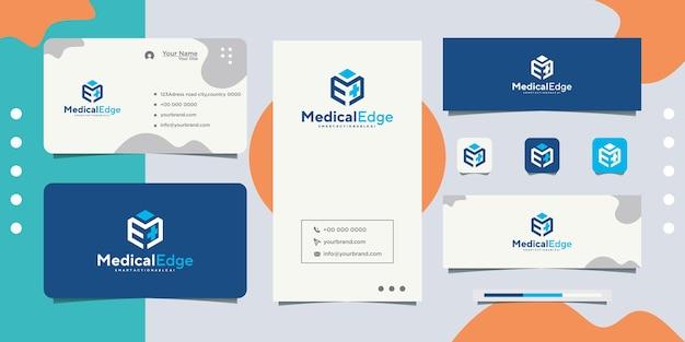 Medical logo design and business card Premium Vector
