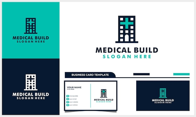 Medical logo design with building architecture and business card template