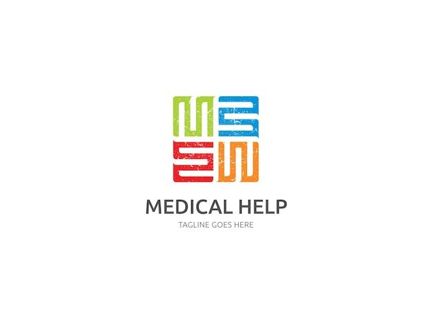 Медицинский дизайн логотипа с эффектом гранж premium vector template