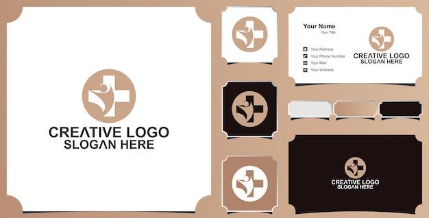 医療ロゴ健康アイコンベクトルロゴデザインと名刺