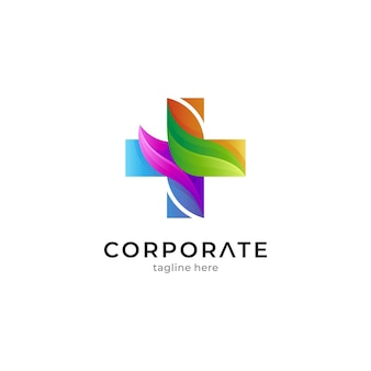 Medical logo template with cross and colorful leaves