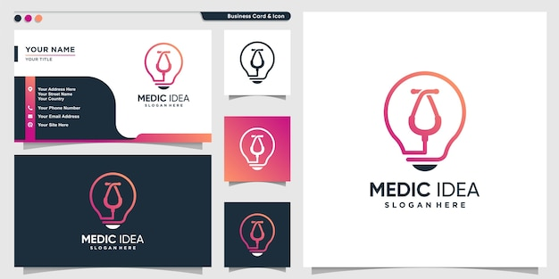 Medical logo with creative idea style and business card design template, health, medic, template