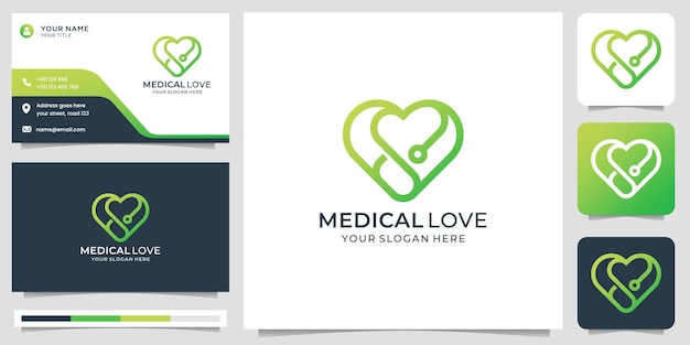 Medical logo with creative love line style and business card design template premium vector