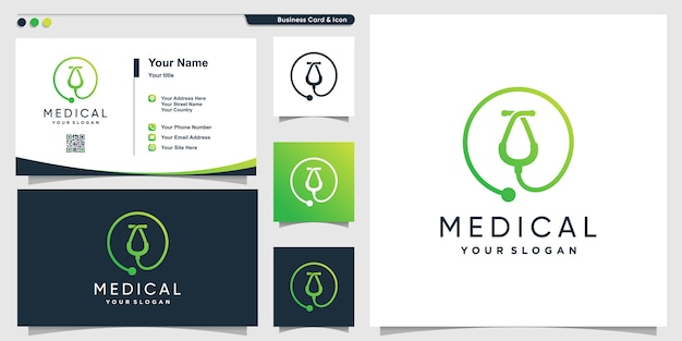 創造的なモダンなラインアートスタイルと名刺デザインテンプレート、健康、医療、テンプレートと医療のロゴ