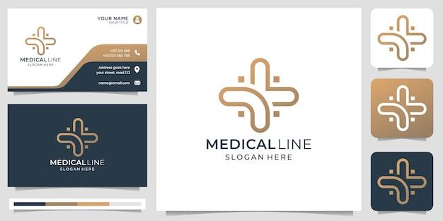創造的なモダンなラインアートスタイルと名刺デザインテンプレートプレミアムベクトルと医療のロゴ