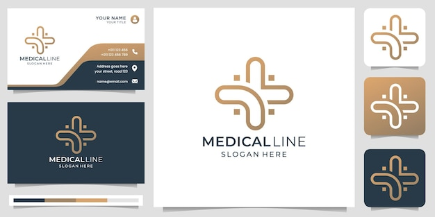 Medical logo with creative modern line art style and business card design template premium vector