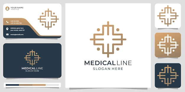 Medical logo with creative modern line art style and business card design template