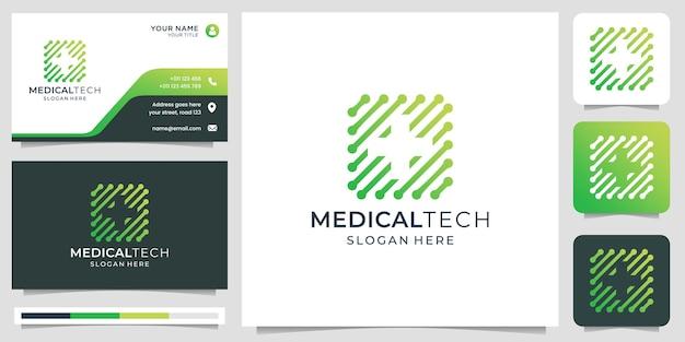 ネガティブスペースコンセプトデザインロゴと名刺テンプレートプレミアムベクトルの創造的な技術と医療ロゴ