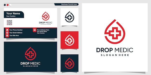 Medical logo with drop blood line art style premium vector