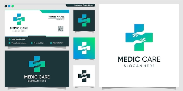 Medical logo with hand care gradient style premium vector