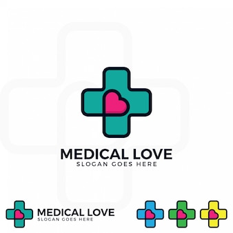 Medical logo with love icon vector.