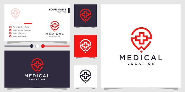 Medical logo with pin location concept and business card design premium vector