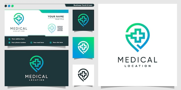 Medical logo with pin location modern gradient style premium vector