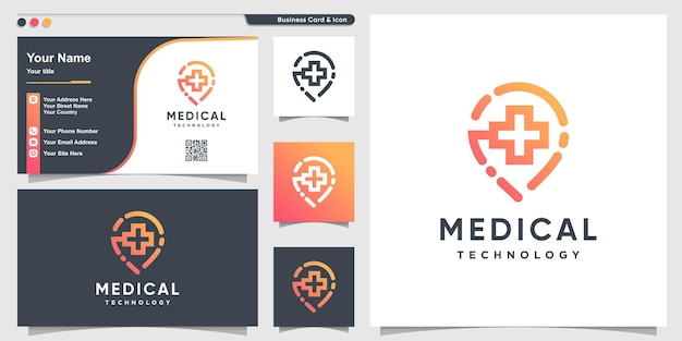 Medical logo with pin technology line style premium vector