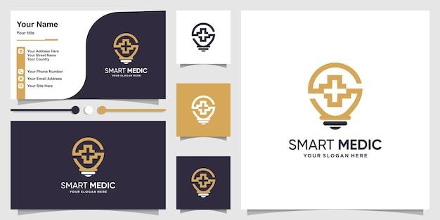 스마트 아이디어 개념 및 명함 디자인 의료 로고 premium vector