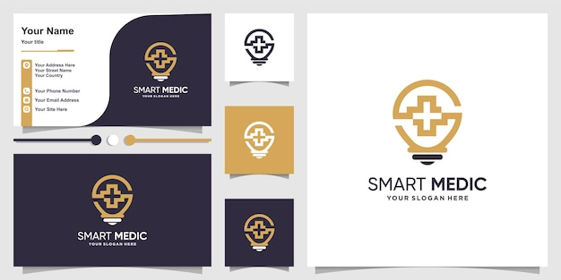 Medical logo with smart idea concept and business card design premium vector