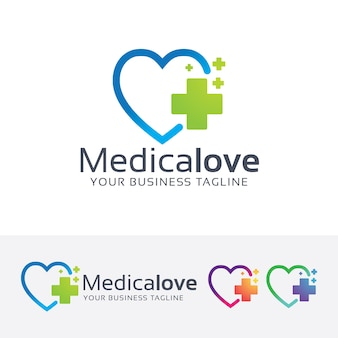 Medical Love and plus symbol logo template
