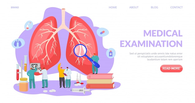 Medical lung examination, landing   illustration. respiratory system diagnostic and treatment, professional healthcare.