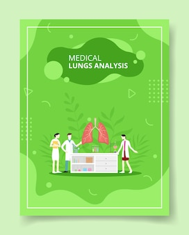 Medical lungs analysis people scientist around lung anatomy organ in laboratory for template of banners, flyer, books cover, magazines