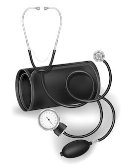 Медицинский ручной тонометр складе иллюстрация, изолированные на белом фоне