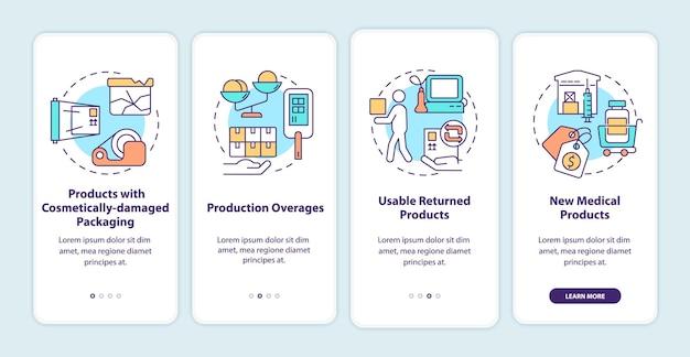 의료 제조업체 기부 온보딩 모바일 앱 페이지 화면. 인도적 지원 안내 개념이 포함된 4단계 그래픽 지침입니다. 선형 컬러 일러스트레이션이 있는 ui, ux, gui 벡터 템플릿