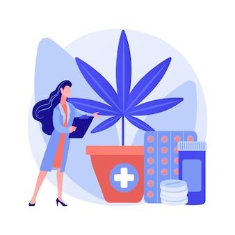 医療用マリファナの抽象的な概念のベクトル図です。医療大麻、カンナビノイド薬、病気や症状の治療、癌性疼痛の緩和、麻の市場、栽培の抽象的な比喩。