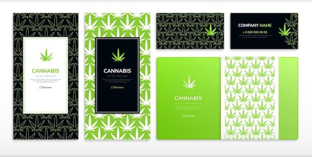 医療用マリファナと大麻のデザインセットフラット孤立イラスト