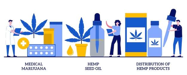의료용 마리화나, 대마씨 오일, 작은 사람들과 대마 제품 개념의 배포. 의료 대마초 벡터 일러스트 레이 션을 설정합니다. 암 통증 완화, 사티바 식물 약국, cbd 오일 사용 은유.