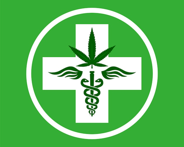 Medical marijuana symbol rod with snakes and wings therapeutic agent kanabis pharmacy