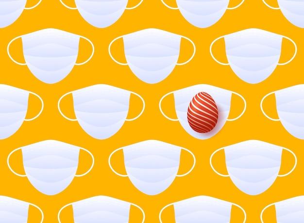 의료 마스크와 빨간색 부활절 달걀 원활한 패턴