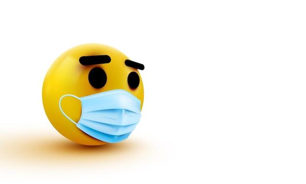 Medical mask emoji isolated on white background