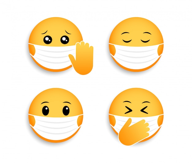 Medical mask emoticons. icon for coronavirus. smileys for social media chat.