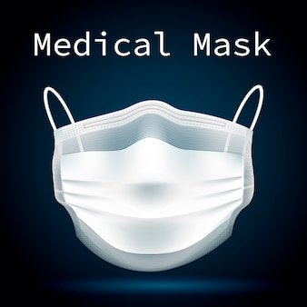 Medical mask front to protect people from viruses and polluted air.