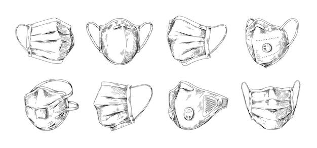 医療用マスク。手描きの呼吸呼吸マスクと顔の呼吸器、インフルエンザ肺炎とコロナウイルスの予防。病気からの安全の健康のためのベクトル落書き肖像画の顔のマスキング