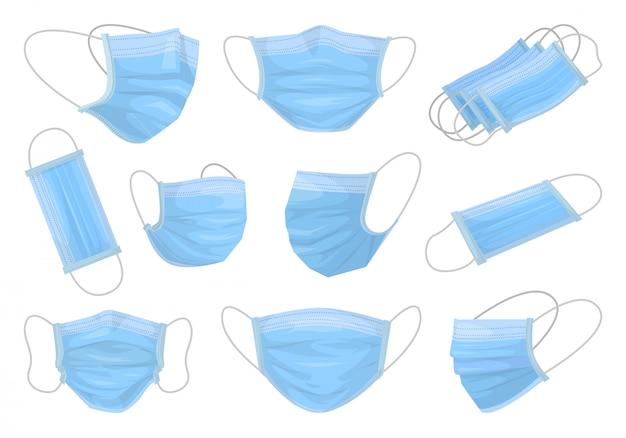 医療マスク分離漫画セットアイコン。漫画セットアイコン外科保護層。白い背景の上の図医療マスク。