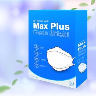 의료 마스크 포장 상자 3d는 흐릿한 파란색 배경에 크기 50개를 디자인합니다.