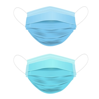 Medical mask, realistic 3d face mask isolated on white