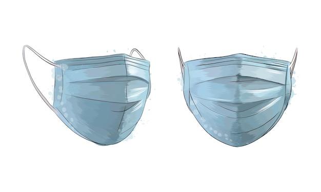 Медицинская маска, хирургическая маска, защита от вирусов и инфекций от брызг акварели, цветного рисунка.