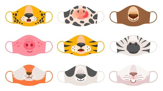 동물의 얼굴이 있는 의료 마스크. 호랑이, 돼지, 얼룩말, 곰, 토끼, 여우, 소 아이들 covid-19 보호 마스크 벡터 세트. 코로나바이러스 삽화에 대한 얼굴 동물 보호 마스크