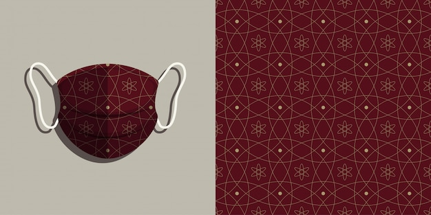 Medical mask  with batik seamless pattern background set