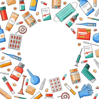 Medical medicines in cartoon style
