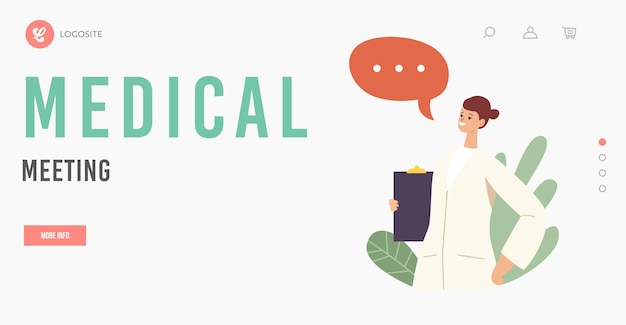 Шаблон целевой страницы медицинской встречи. женский доктор персонаж в медицинской мантии, холдинг буфер обмена в палате клиники. медицинский персонал больницы, медицинская профессия. мультфильм люди векторные иллюстрации