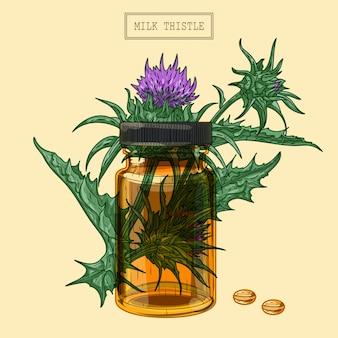의료 우유 엉겅퀴 식물과 알약과 유리 병, 손으로 그린 그림 복고 스타일