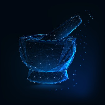 Medical mortar and pestle made of lines, dots, triangles, stars on dark blue background.