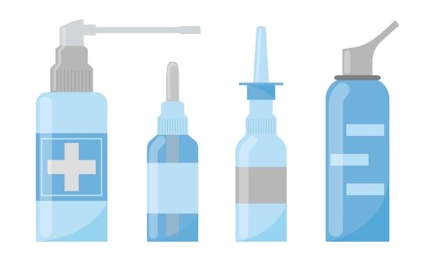 Медицинские спреи для носа векторный набор лекарства для лечения ринита аптечные предметы для носа