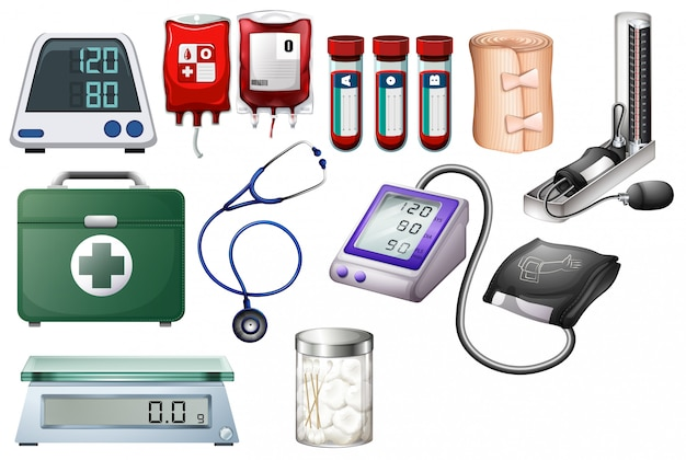 Medical and nursing equipments on white background
